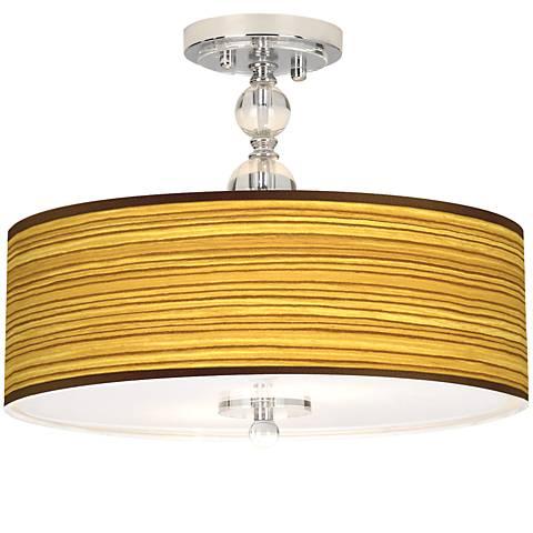"Tawny Zebrawood Giclee 16"" Wide Semi-Flush Ceiling Light"