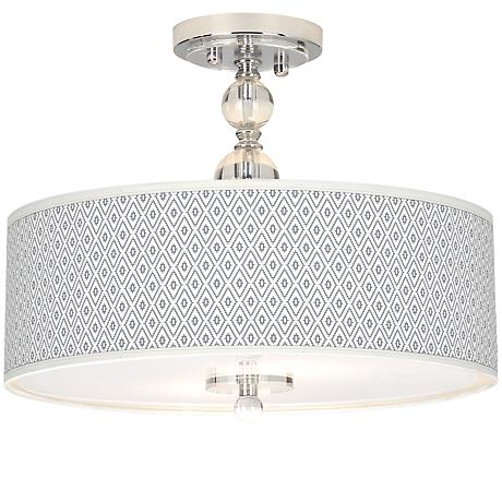 "Diamonds Giclee 16"" Wide Semi-Flush Ceiling Light"