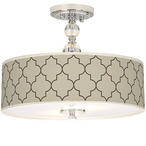 "Tangier Taupe Giclee 16"" Wide Semi-Flush Ceiling Light"