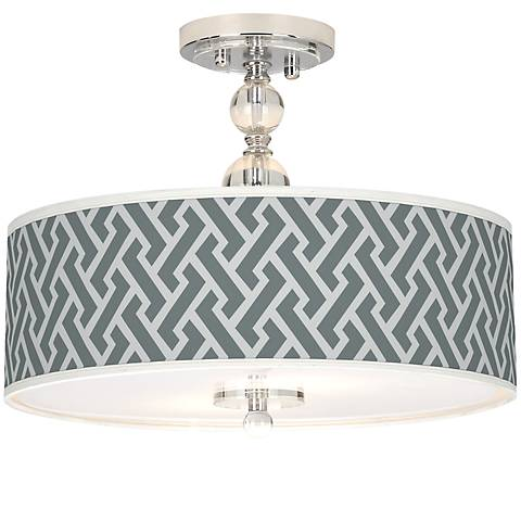 "Smoke Brick Weave Giclee 16""W Semi-Flush Ceiling Light"
