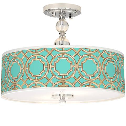 "Teal Bamboo Trellis Giclee 16""W Semi-Flush Ceiling Light"