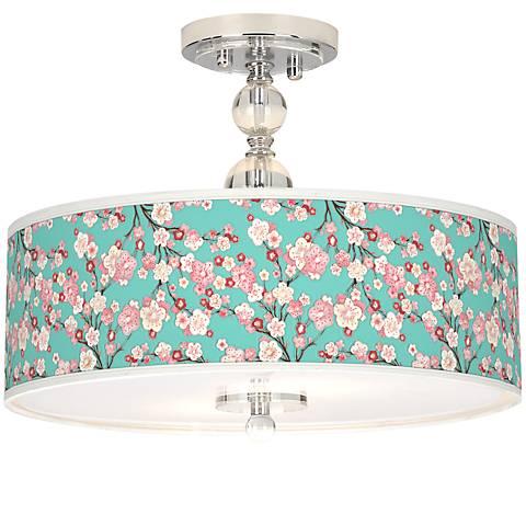 "Cherry Blossoms Giclee 16"" Wide Semi-Flush Ceiling Light"