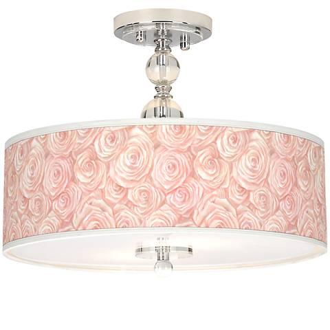 """Pink Roses Giclee 16""""W Semi-Flush Ceiling Light"""