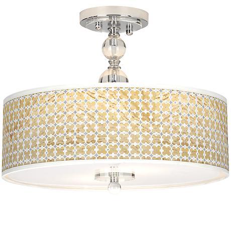 """Marble Quatrefoil Giclee 16"""" Wide Semi-Flush Ceiling Light"""