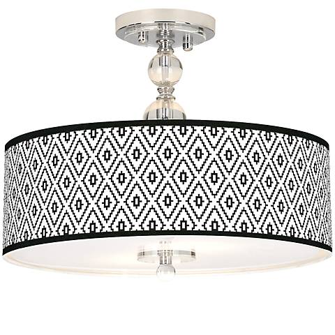 "Black Diamonds Giclee 16"" Wide Semi-Flush Ceiling Light"