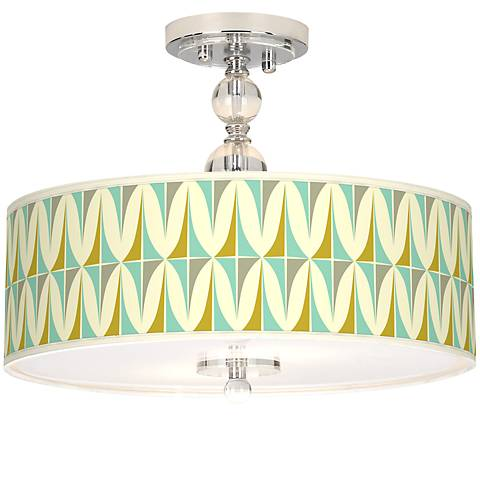 "Vernaculis I Giclee 16"" Wide Semi-Flush Ceiling Light"