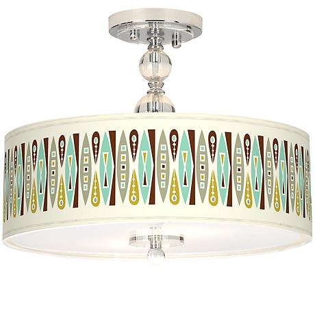 "Vernaculis II Giclee 16"" Wide Semi-Flush Ceiling Light"