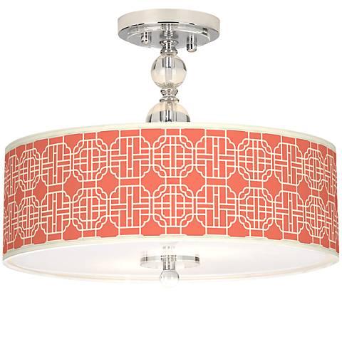 """Mandarin Giclee 16"""" Wide Semi-Flush Ceiling Light"""