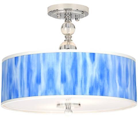 """Blue Tide Giclee 16"""" Wide Semi-Flush Ceiling Light"""