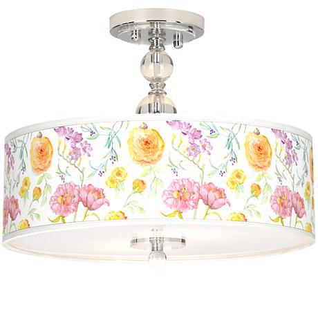 """Spring Garden Giclee 16"""" Wide Semi-Flush Ceiling Light"""
