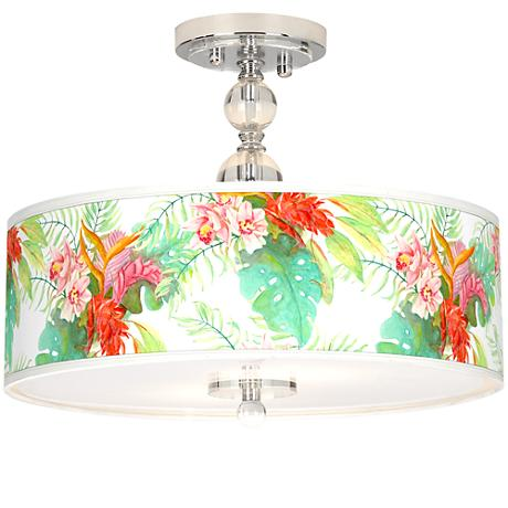 """Island Floral Giclee 16"""" Wide Semi-Flush Ceiling Light"""
