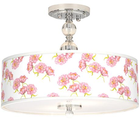 "Pretty Peonies Giclee 16"" Wide Semi-Flush Ceiling Light"
