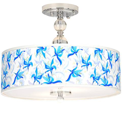 "Flora Bleu Giclee 16"" Wide Semi-Flush Ceiling Light"