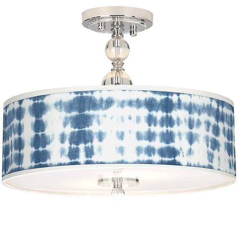 "Shibori Surf Giclee 16"" Wide Semi-Flush Ceiling Light"