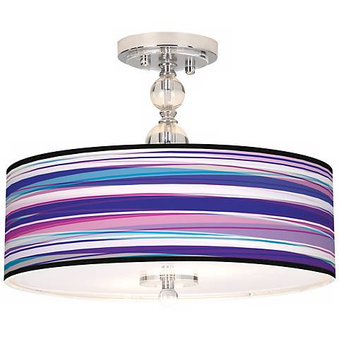 "Purple Neon Giclee 16"" Wide Semi-Flush Ceiling Light"