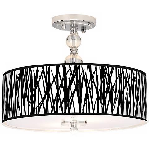 "Black Jagged Stripes 16"" Wide Semi-Flush Ceiling Light"