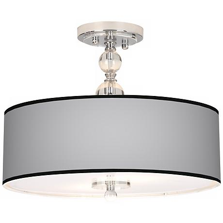 """All Silver Giclee 16"""" Wide Semi-Flush Ceiling Light"""