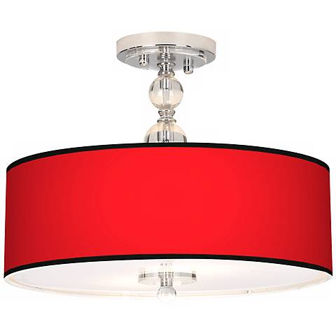 "All Red Giclee 16"" Wide Semi-Flush Ceiling Light"