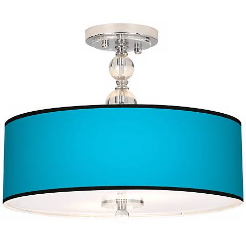 "All Aqua Giclee 16"" Wide Semi-Flush Ceiling Light"