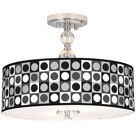 """Black And Grey Dotted Square 16"""" Semi-Flush Ceiling Light"""
