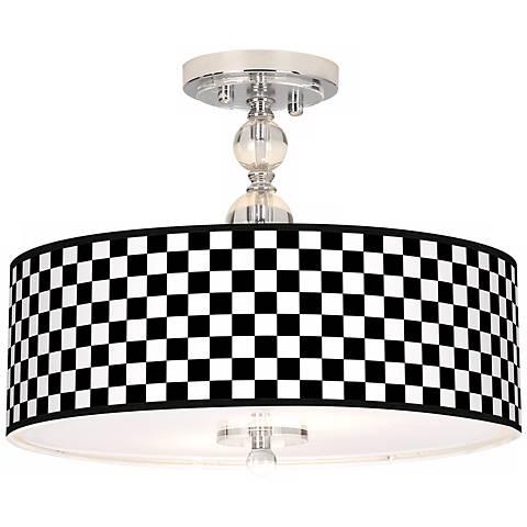 """Checkered Black Giclee 16"""" Wide Semi-Flush Ceiling Light"""