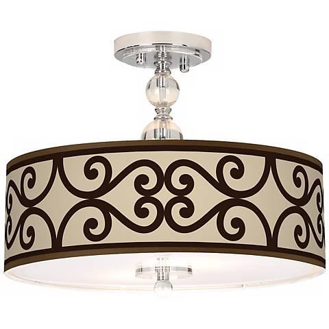 "Cambria Scroll Giclee 16"" Wide Semi-Flush Ceiling Light"