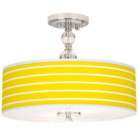 "Vivid Yellow Stripes 16"" Wide Semi-Flush Ceiling Light"