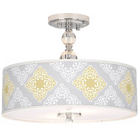 "Aster Grey Giclee 16"" Wide Semi-Flush Ceiling Light"