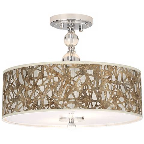 "Organic Nest Giclee 16"" Wide Semi-Flush Ceiling Light"