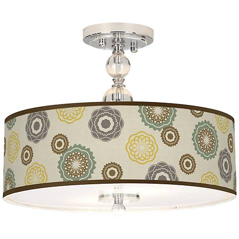 "Ornaments Linen Giclee 16"" Wide Semi-Flush Ceiling Light"