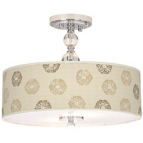 "Sand Medallion Giclee 16"" Wide Semi-Flush Ceiling Light"