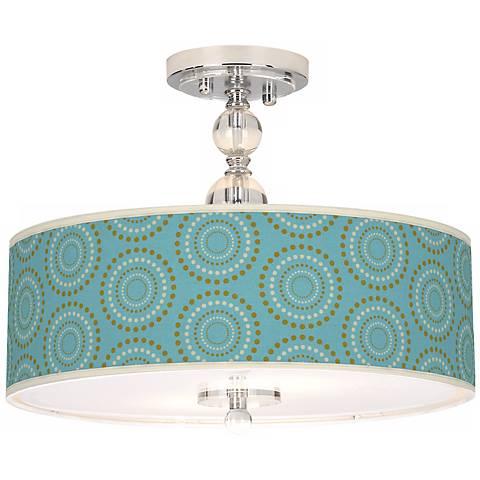 """Blue Calliope Linen Giclee 16"""" Wide Semi-Flush Ceiling Light"""