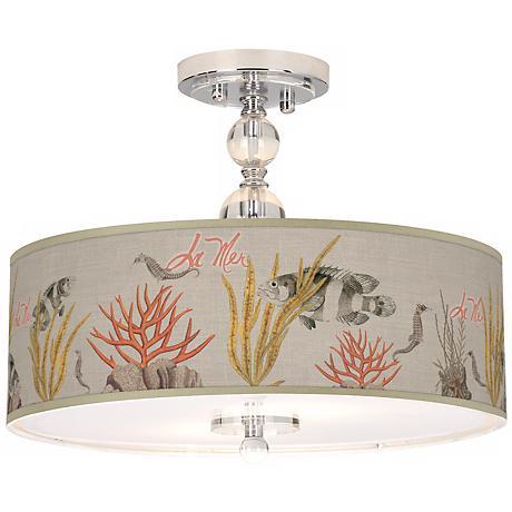 "La Mer Coral Giclee 16"" Wide Semi-Flush Ceiling Light"
