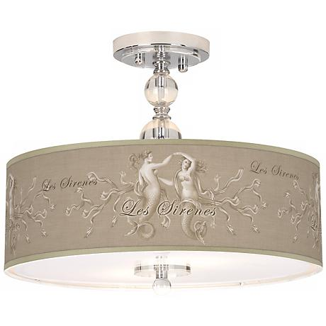 "Les Sirenes Natural Giclee 16"" Wide Semi-Flush Ceiling Light"