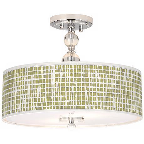 """Ecru Screen Linen Giclee 16"""" Wide Semi-Flush Ceiling Light"""
