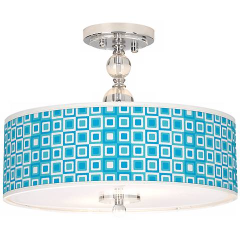 "Blue Boxes Linen Giclee 16"" Wide Semi-Flush Ceiling Light"