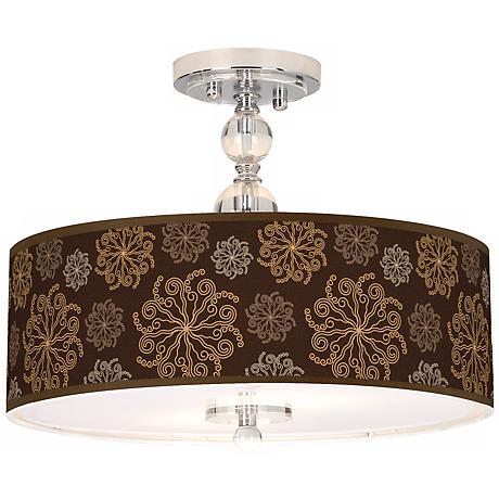 "Chocolate Blossom Linen 16"" Wide Semi-Flush Ceiling Light"