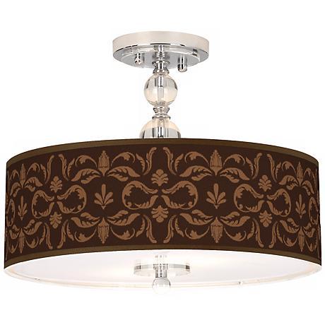 "Mocha Flourish Linen 16"" Wide Semi-Flush Ceiling Light"