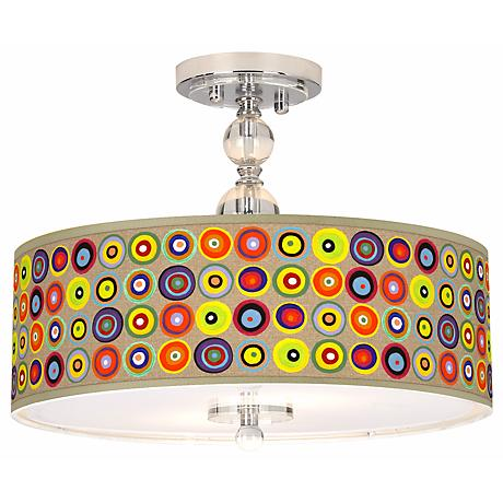 """Marbles in the Park Giclee 16"""" Wide Semi-Flush Ceiling Light"""