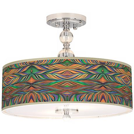 "Exotic Peacock Giclee 16"" Wide Semi-Flush Ceiling Light"