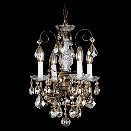 """New Orleans 12"""" Wide Gold Hand-Cut Crystal Mini Chandelier"""