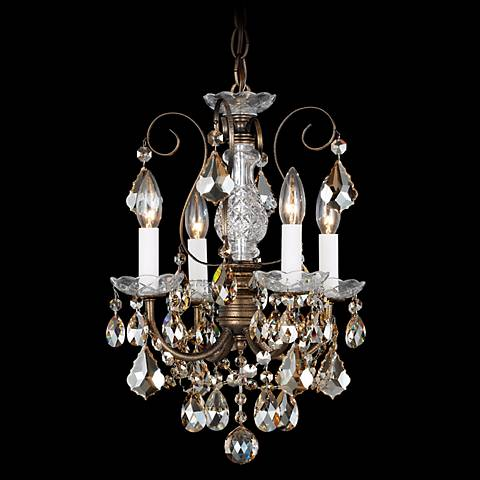 "New Orleans 12"" Wide Bronze Teak Crystal Mini Chandelier"
