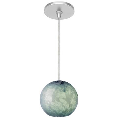 "Aquarii 6 1/4""W Satin Nickel Blue Glass LED Mini Pendant"