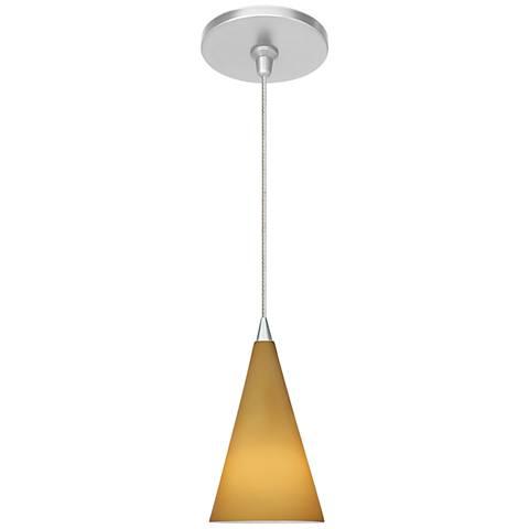 "Cone III 4"" Wide Satin Nickel Amber Glass LED Mini Pendant"