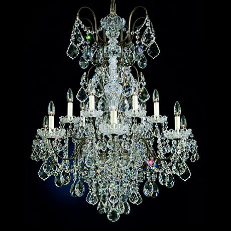"""New Orleans 32"""" Wide Hand-Cut Crystal Chandelier in Gold"""