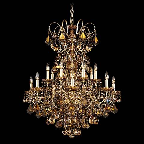 """Schonbek New Orleans 32"""" Wide Gold Teak Crystal Chandelier"""