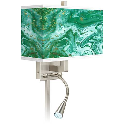 Malachite Giclee Glow LED Reading Light Plug-In Sconce