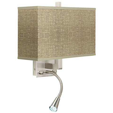 Burlap Print Giclee LED Reading Light Plug-In Sconce