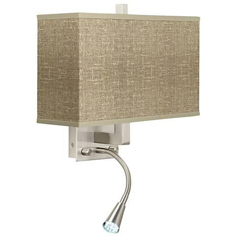 burlap rectangular chandelier burlap print giclee led reading light plug in sconce n8671