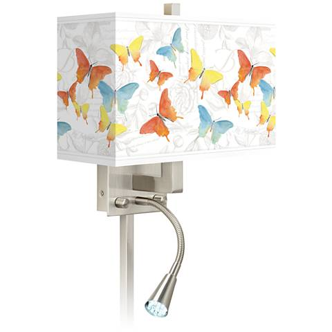 Pastel Butterflies Giclee Glow LED Reading Light Plug-In Sconce